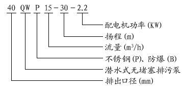 QW潜水排污泵型号意义